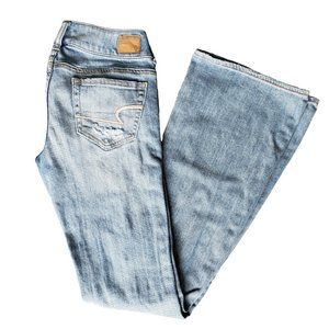 AMERICAN EAGLE Ripped Artist Stretch Jeans Sz 0